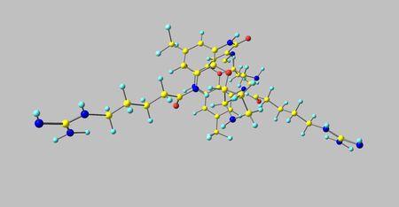 Brilacidin antibiotic molecular structure isolated on grey