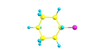 Bromocyclohexane or Cyclohexyl bromide is an organic compound with the chemical formula C6H11Br. 3d illustration Banco de Imagens - 127675305