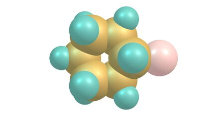 Bromocyclohexane or Cyclohexyl bromide is an organic compound with the chemical formula C6H11Br. 3d illustration Banco de Imagens - 127675308