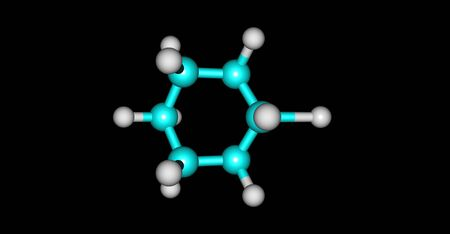 Bromocyclohexane or Cyclohexyl bromide is an organic compound with the chemical formula C6H11Br. 3d illustration Banco de Imagens - 127675306