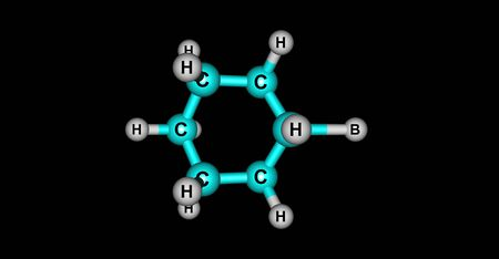Bromocyclohexane or Cyclohexyl bromide is an organic compound with the chemical formula C6H11Br. 3d illustration Banco de Imagens - 127675303