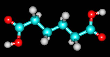 Adipic acid molecular structure isolated on black