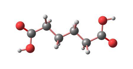 Adipic acid molecular structure isolated on white Banco de Imagens