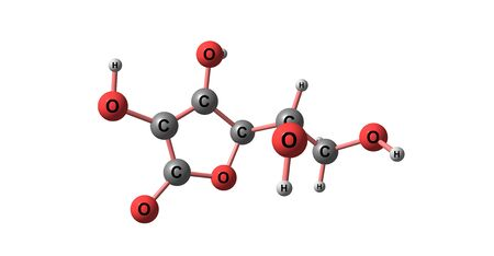 Ascorbic acid is an organic compound with formula C6H8O6, originally called hexuronic acid. 3d illustration Banco de Imagens - 127675348