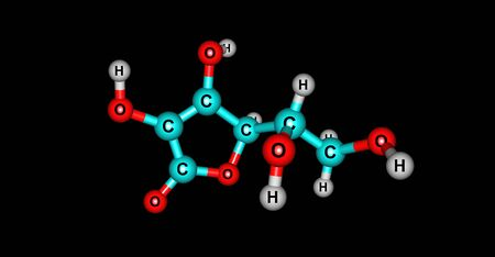 Ascorbic acid is an organic compound with formula C6H8O6, originally called hexuronic acid. 3d illustration Banco de Imagens - 127675332