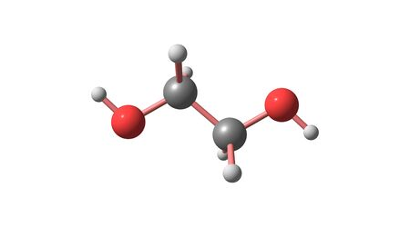 Ethylene glycol is an organic compound which is mainly used for the manufacture of polyester fibers and for antifreeze formulations. 3d illustration