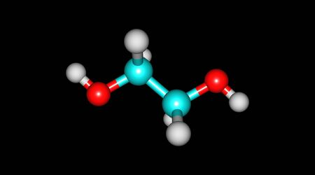 Ethylene glycol is an organic compound which is mainly used for the manufacture of polyester fibers and for antifreeze formulations. 3d illustration Banco de Imagens - 127675335