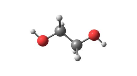 Ethylene glycol is an organic compound which is mainly used for the manufacture of polyester fibers and for antifreeze formulations. 3d illustration Banco de Imagens - 127675341