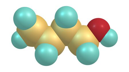 Butyl alcohol or normal butanol is a primary alcohol with the chemical formula C4H9OH. 3d illustration