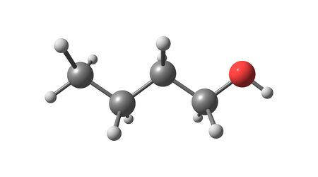 Butyl alcohol or normal butanol is a primary alcohol with the chemical formula C4H9OH. 3d illustration Imagens - 127675355