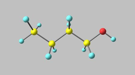 Butyl alcohol or normal butanol is a primary alcohol with the chemical formula C4H9OH. 3d illustration Banco de Imagens - 127675352