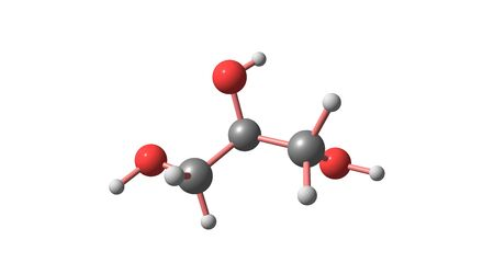 Glycerol is a simple polyol compound. It is a colorless, odorless, viscous liquid that is sweet-tasting and non-toxic. 3d illustration