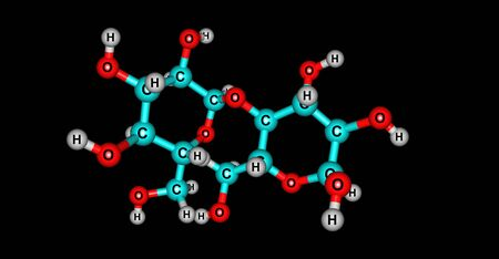 Starch molecular structure isolated on black