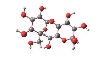 Structure moléculaire de l'amidon isolée sur blanc Banque d'images