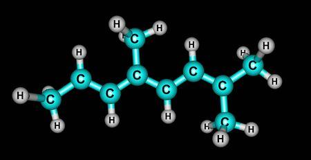 Alloocimene molecular structure isolated on black