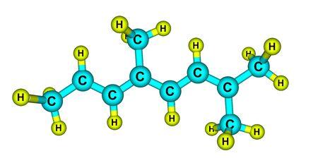Alloocimene molecular structure isolated on white