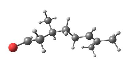 Citronellal is a major isolate in distilled oils from the plants Cymbopogon, lemon-scented gum. 3d illustration