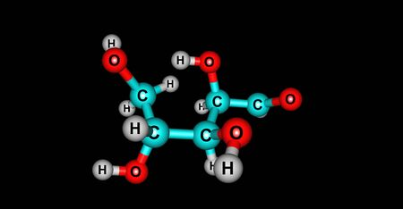 Xylose is a monosaccharide of the aldopentose type consisted of five carbon atoms and an aldehyde functional group. Xylose is a sugar isolated from wood. 3d illustration