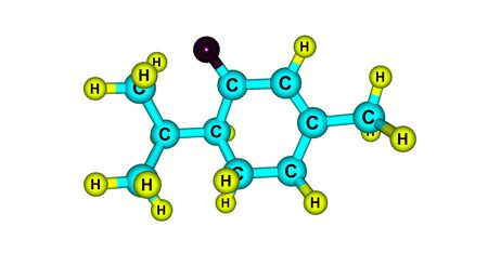 Piperitone is a natural monoterpene ketone which is a component of some essential oils. 3d illustration Stok Fotoğraf