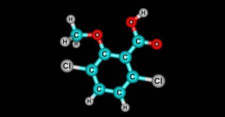 Dicamba is a broad-spectrum herbicide first registered in 1967. 3d illustration Banco de Imagens