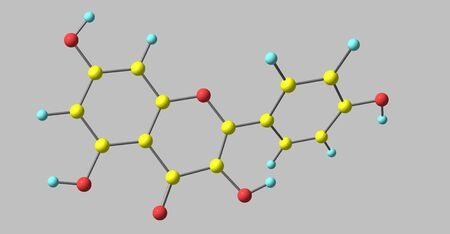 Kaempferol is a natural flavonol, a type of flavonoid, found in a variety of plants. 3d illustration Zdjęcie Seryjne