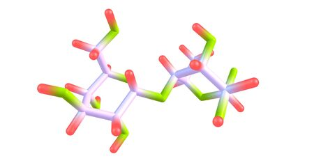 Maltose molecular structure isolated on white
