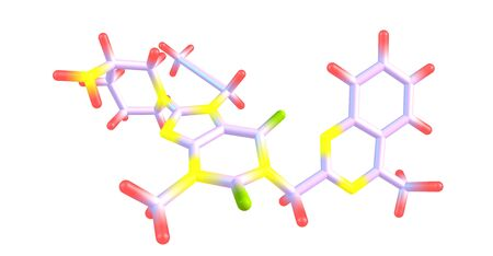 Linagliptin molecular structure isolated on white Stock Photo