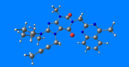 Linagliptin molecular structure isolated on blue