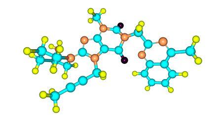 Linagliptin molecular structure isolated on white Banco de Imagens