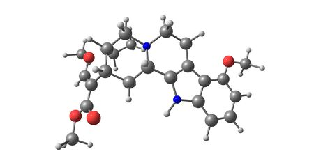 Mitragynine is an indole-based alkaloid and the most abundant active alkaloid in the plant Mitragyna speciosa, commonly known as kratom. 3d illustration
