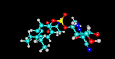 Remdesivir molecular structure isolated on black