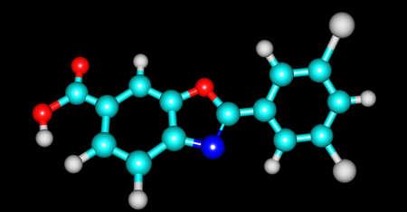 Tafamidis molecular structure isolated on black