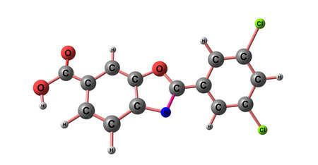 Tafamidis molecular structure isolated on white Stock Photo