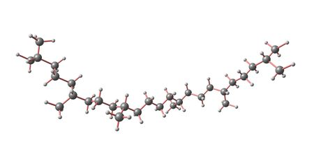 Squalane is a hydrocarbon derived by hydrogenation of squalene. 3d illustration