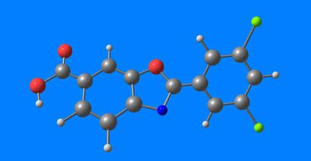 Tafamidis molecular structure isolated on blue