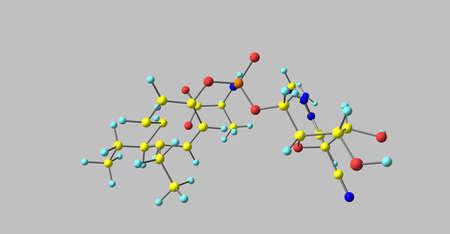 Remdesivir molecular structure isolated on grey