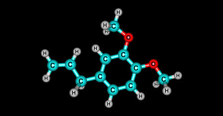 Methyl eugenol molecular structure isolated on black