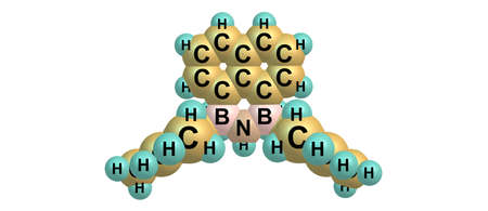Boron nitride and carbon hybrid is a heterostructure consisting of boron and nitrogen and carbon. 3d illustration Stock Photo