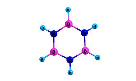 Borazine molecular structure isolated on white