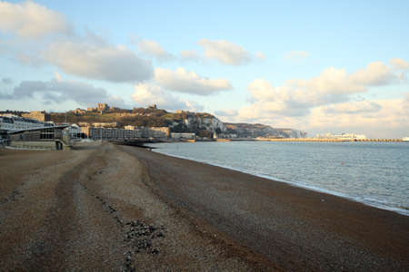 dover: Shingle beach with a view of Dover castle in the distance Stock Photo