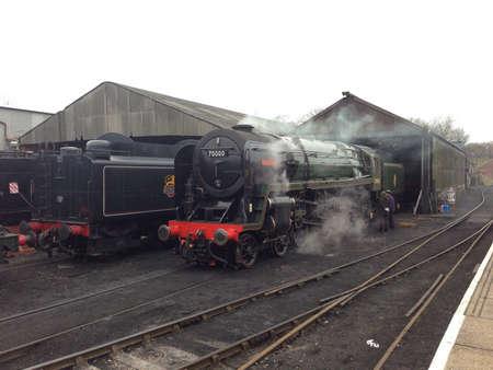 britannia: Historic British Steam Locomotive Britannia  Stock Photo