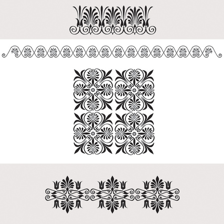 greek currency: set of national greek seamless ornaments  patterns
