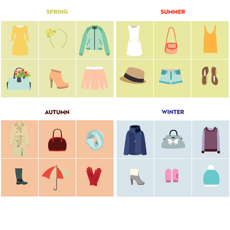 set of seasonal clothes for woman illustration