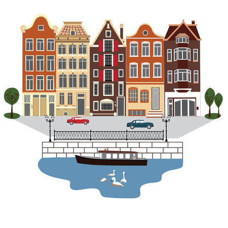 Amsterdam street illustration