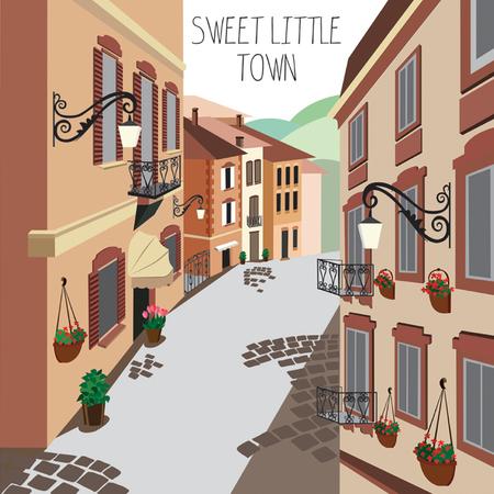 roof tile: European small street illustration