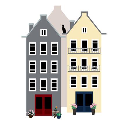 Three European houses illustration Vector