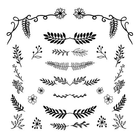 The set of hand drawn vector decorative elements
