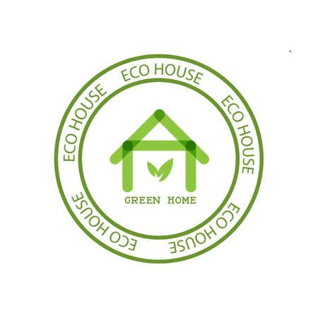 icono de Eco House Inmobiliaria. casa verde. diseño del vector