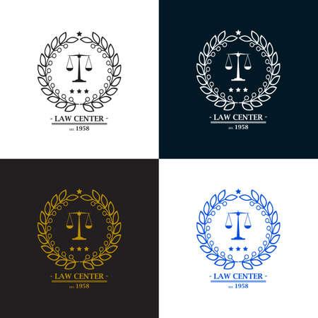 Advocatenkantoor, bureau, centrum logo design. vector illustratie