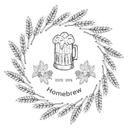 brewery: Beer and brewery emblems, design elements.